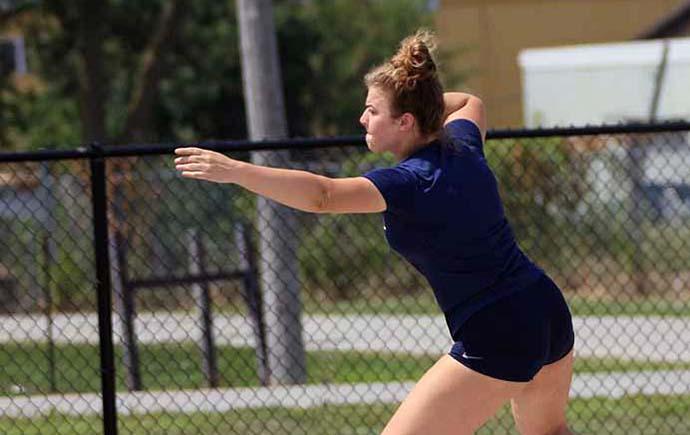 Athlete throwing at Hammerman Field
